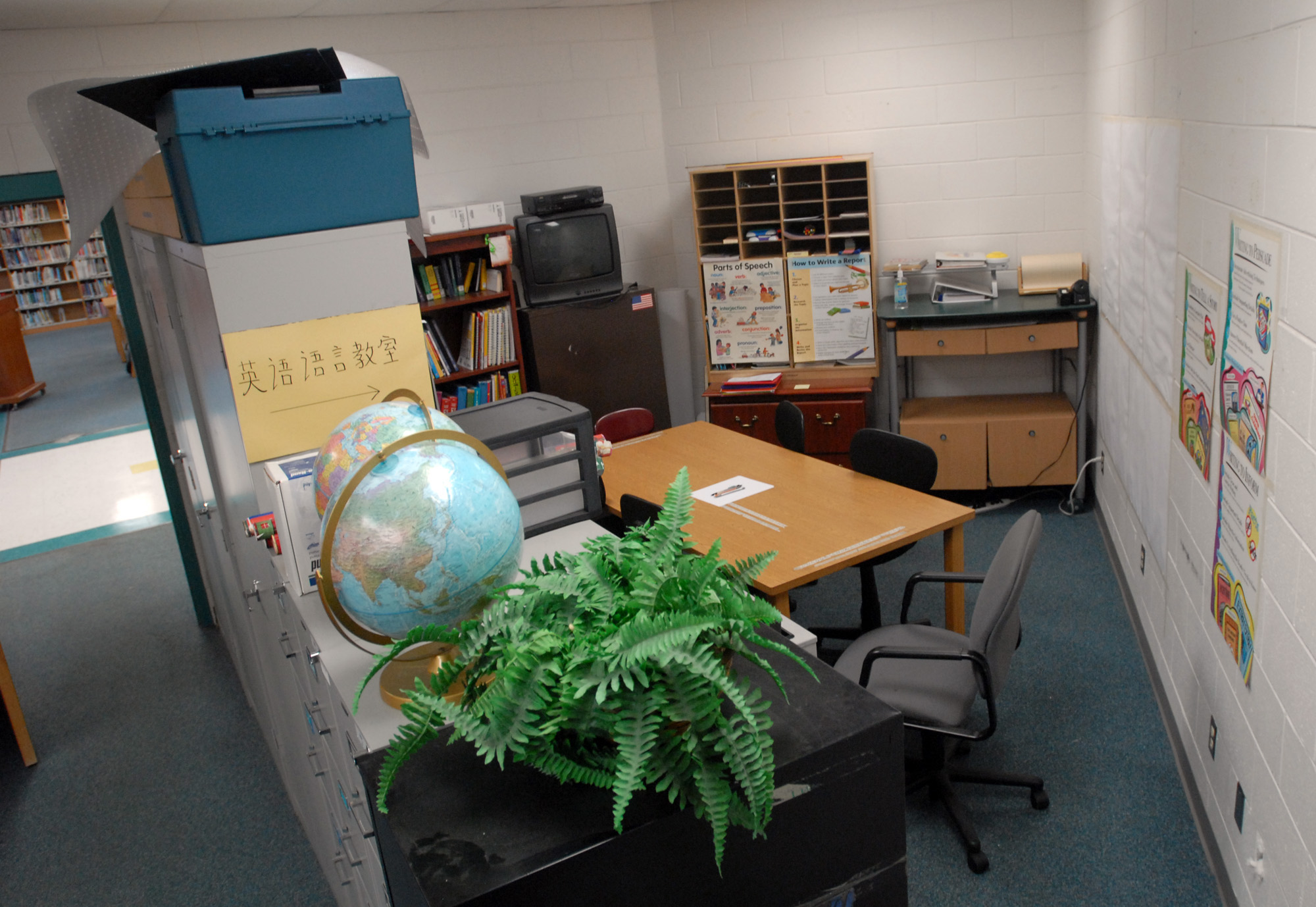 File cabinets divide this space at this public school in Flowood, Miss., designed as storage for the adjacent library and made into a makeshift classroom for English as a Second Language (ESL) students.   File Photo/Clarion Ledger
