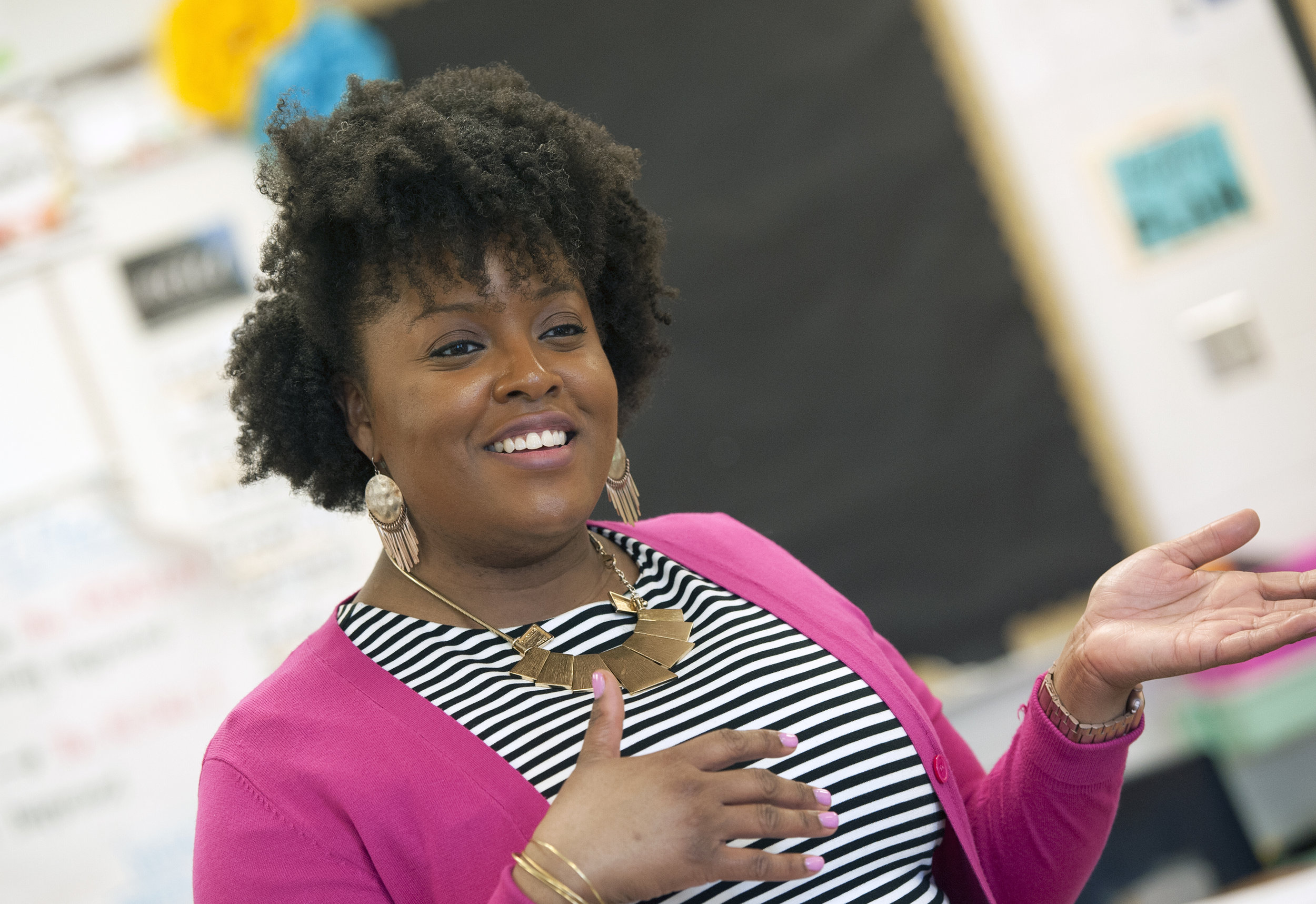 Kristy Thomas is known to keep a smile on her face even when lecturing students in her fourth grade English teacher at William Dean Jr. Elementary in Holmes County who have broken classroom rules.   Barbara Gauntt/Clarion Ledger