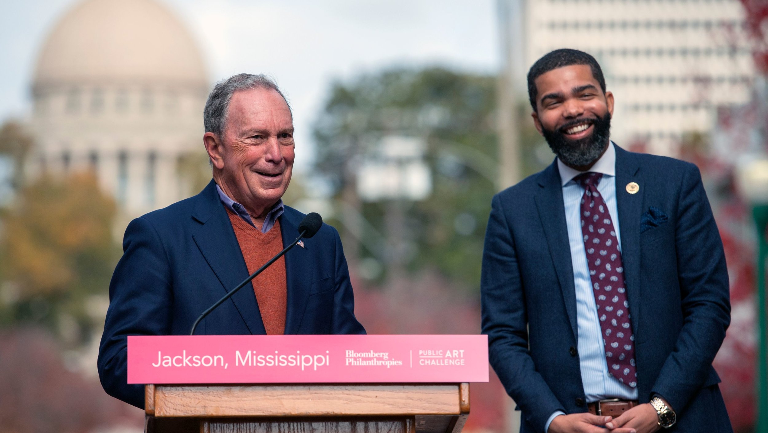 Former New York City Mayor Michael Bloomberg, left, and Jackson Mayor Chokwe Antar Lumumba, right, at a press conference in Jackson in November.   Barbara Gauntt/Clarion Ledger