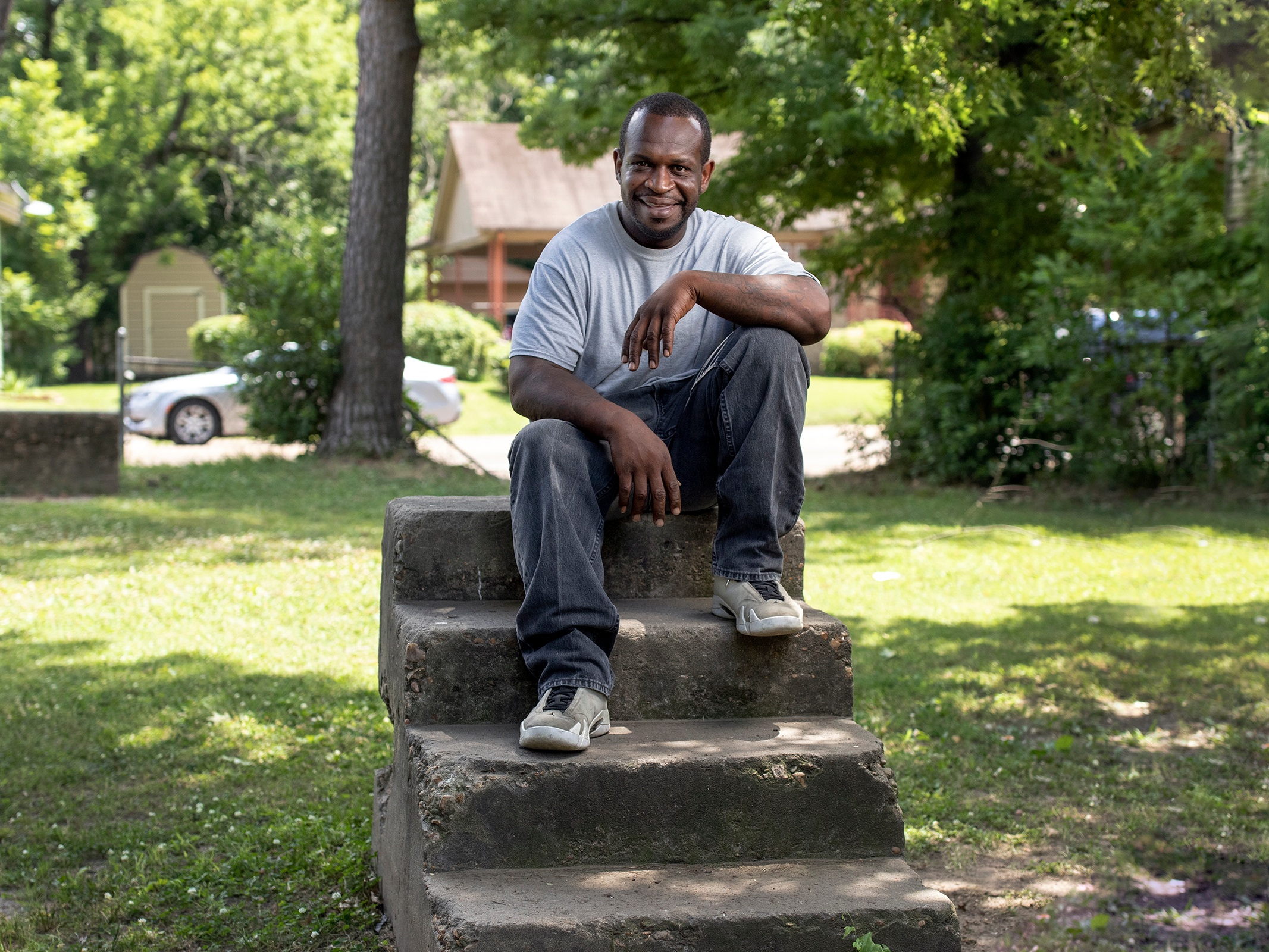 Marcellus Gray, 42, a local barber in Greenwood, Miss., is all too familiar with gun culture. He works to help kids shy away from street life.   Charles A. Smith/Mississippi Center for Investigative Reporting.
