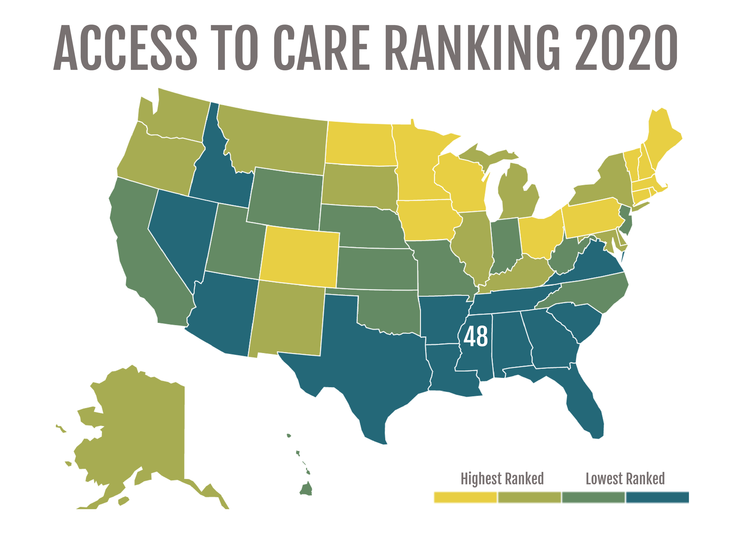 Source: Mental Health America, Access to Care Ranking 2020   Katherine Mitchell/Mississippi Center for Investigative Reporting