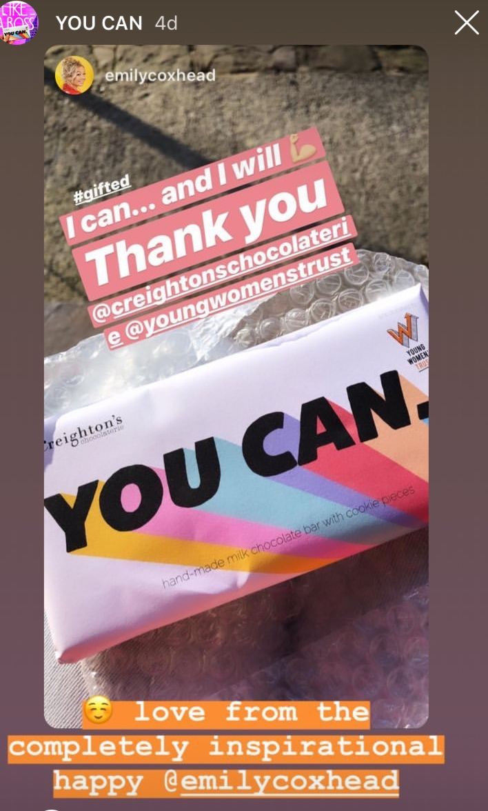 @emilycoxhead featured You Can. Charity Chocolate bar