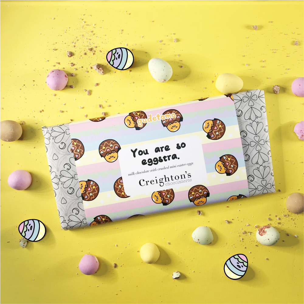 You're so Eggstra Milk Chocolate Bar with mini smashed Easter eggs.