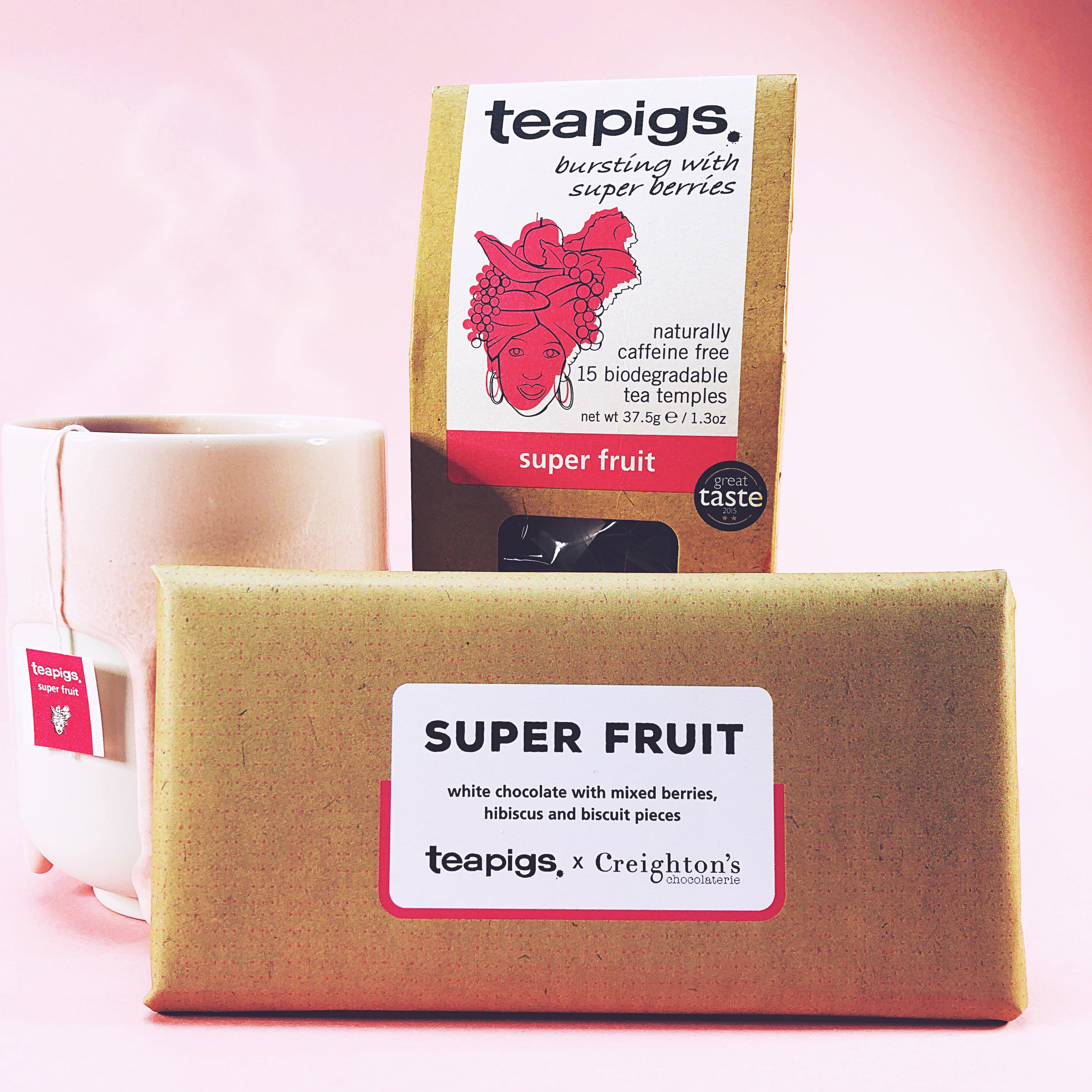 teapigs. x Creighton's Chocolaterie white chocolate bar with mixed berries, hibiscus and biscuit pieces