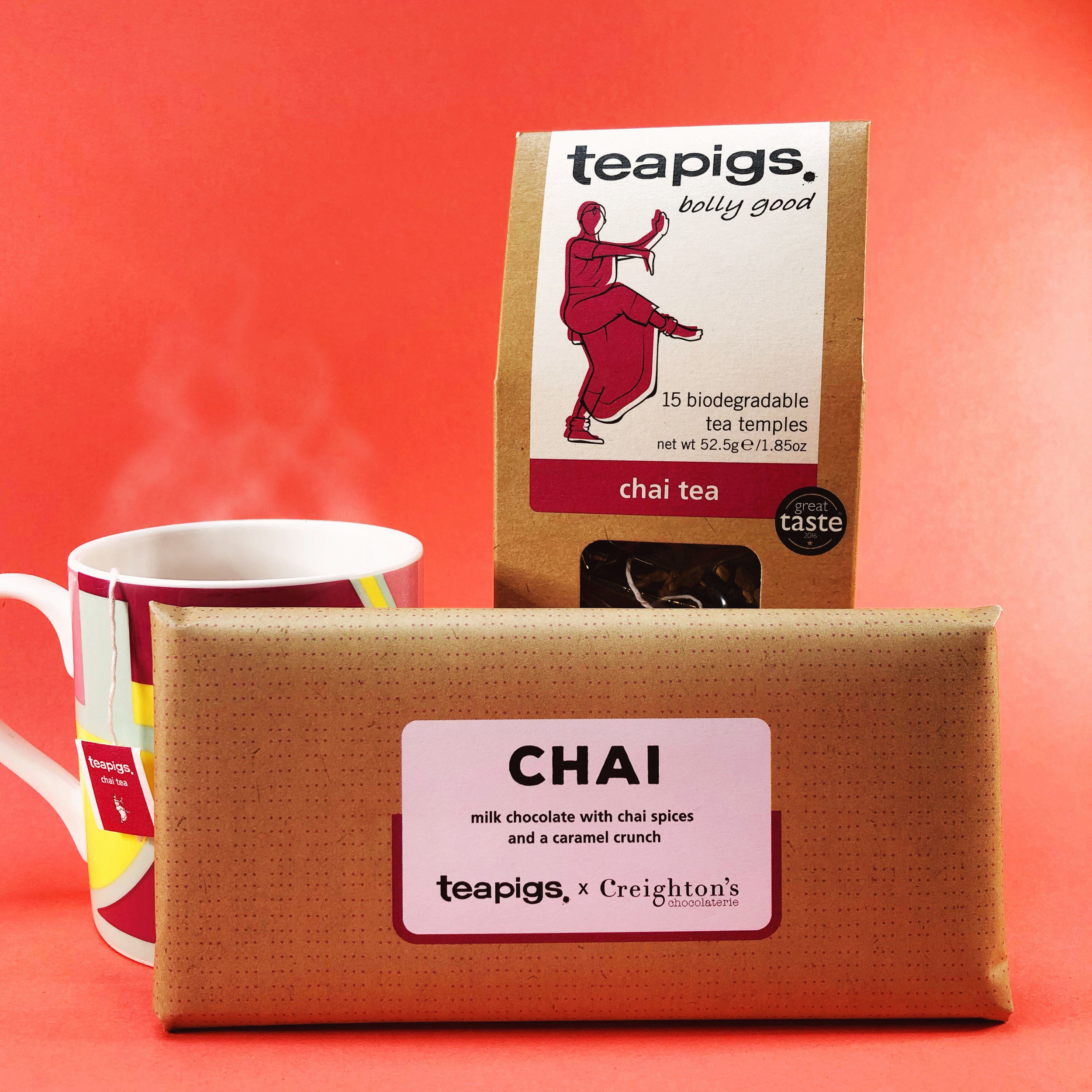 teapigs x Creighton's chocolaterie Chai with chai spices and caramel crunch