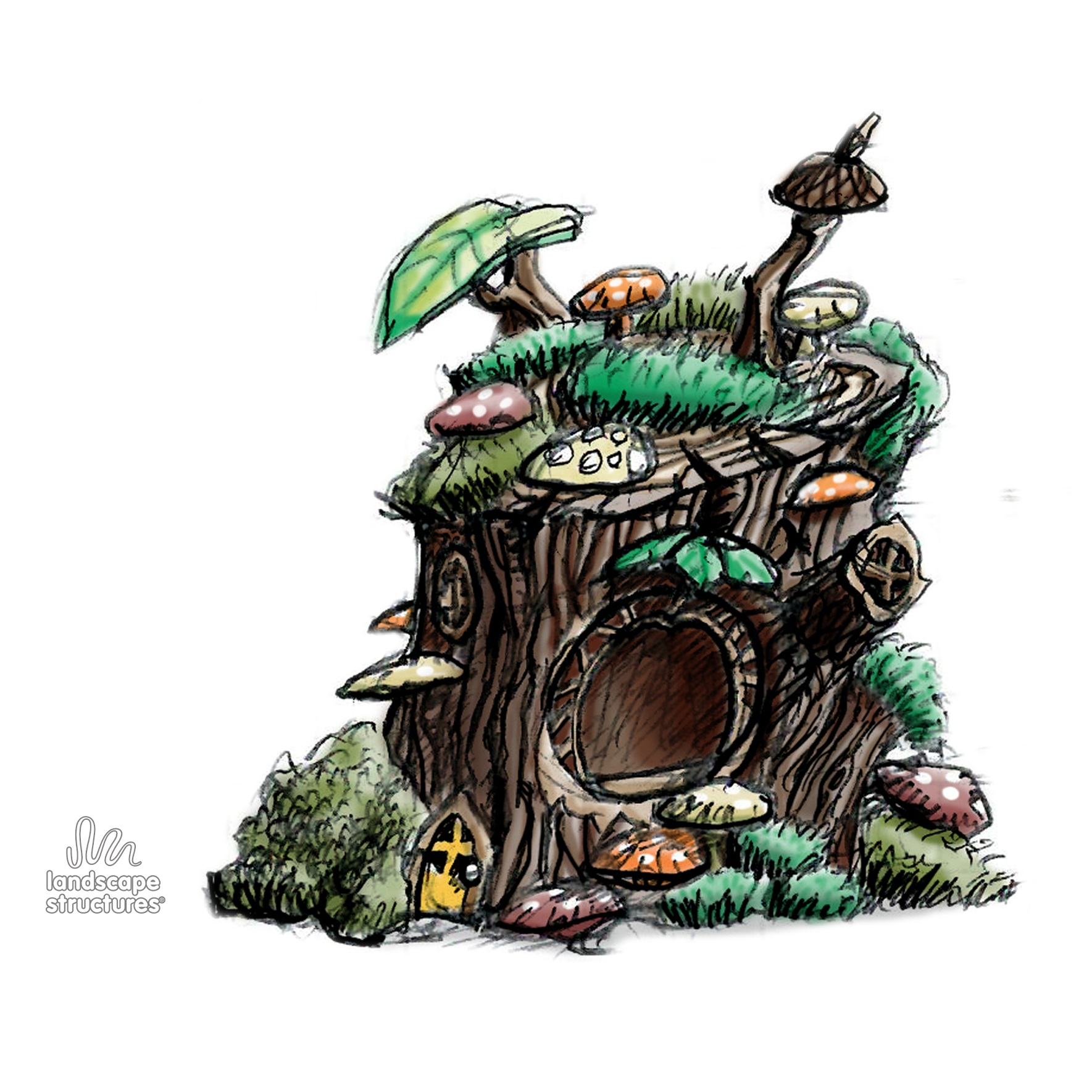 Mossy Tree Stump Fairy House Sketch