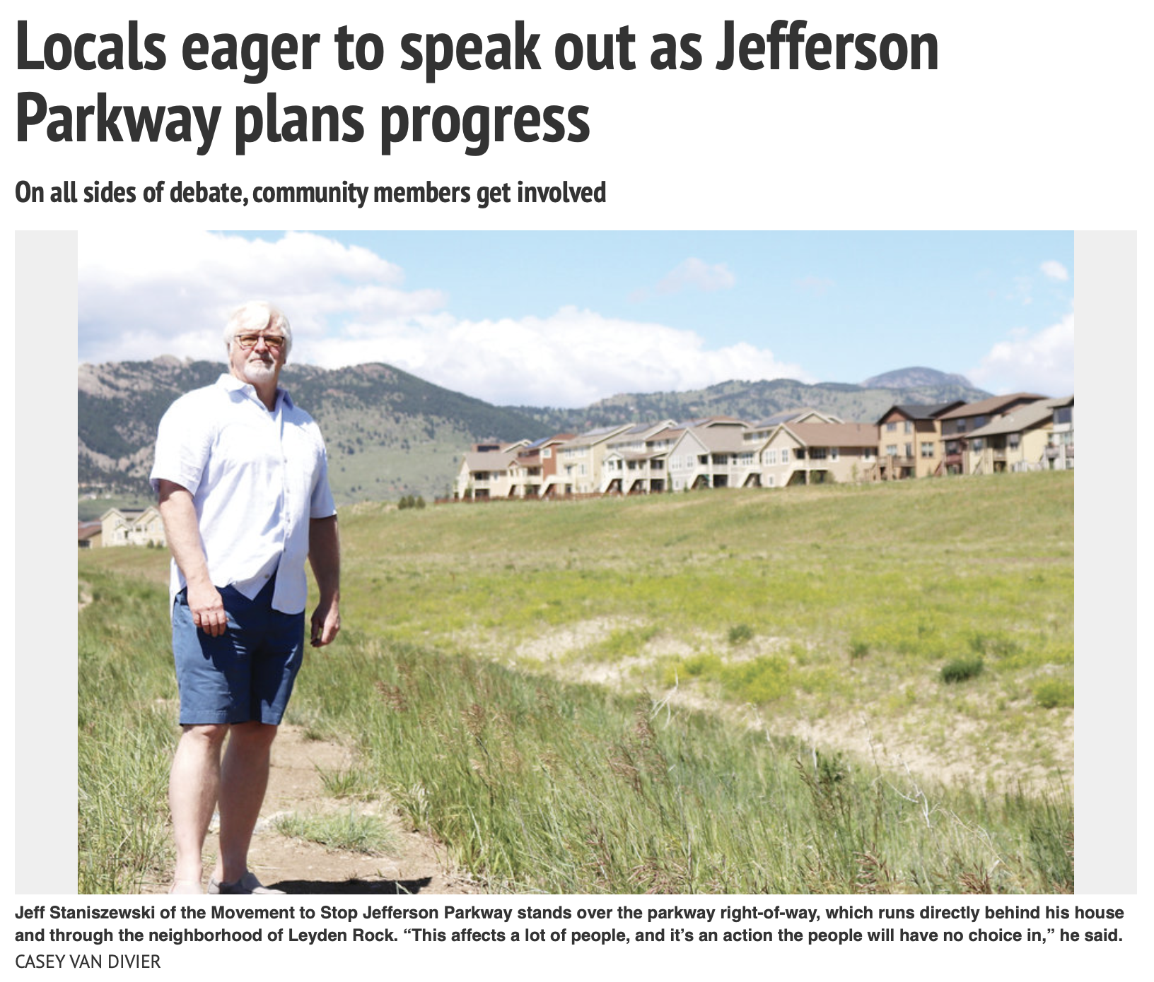 Our own Brett Vernon was recently quoted in this Arvada Press article. Click on the image or this link to read:    https://arvadapress.com/stories/locals-eager-to-speak-out-as-jefferson-parkway-plans-progress,284392
