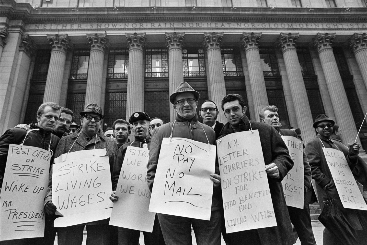Postal workers out on an illegal strike in 1970.