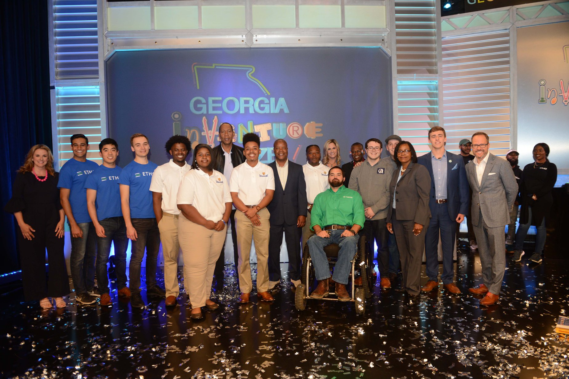 All five finalist teams, along with the panel of judges, host Mark Curry, and the Georgia Chamber's Chris Clark