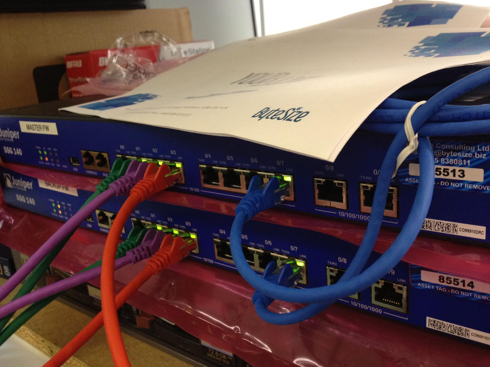 High Availability Juniper firewall pair being setup in the ByteSize lab for a customer in Paris, France