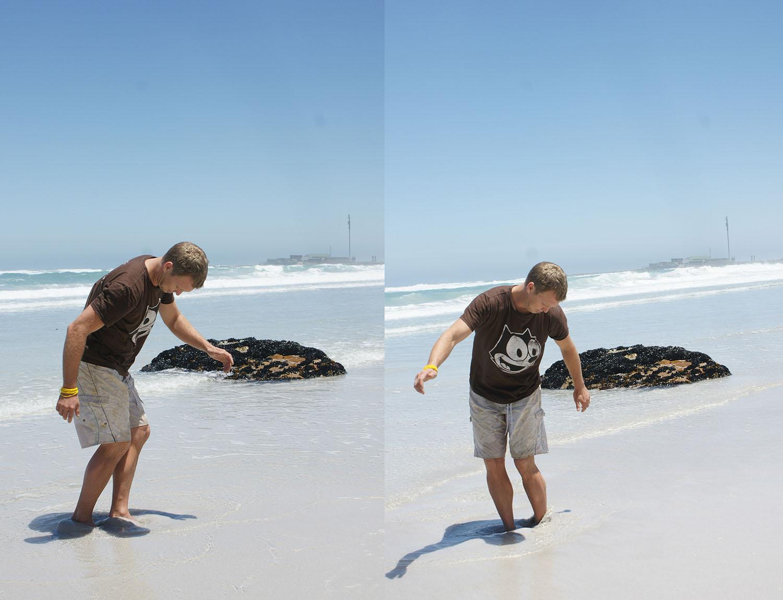 """""""Du muss dich da einbohren und wenn du so etwas wie einen Stein zwischen deinen Füssen spürst, dann ist das eine Muschel!"""" , schreit Justin laut."""