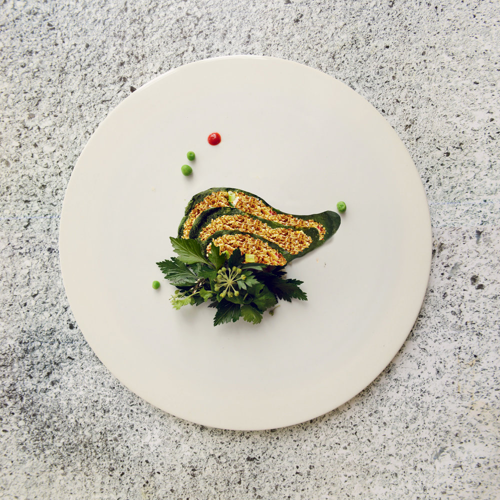 Nasi Goreng mit Spinat-Omelette, Sambal Oelek