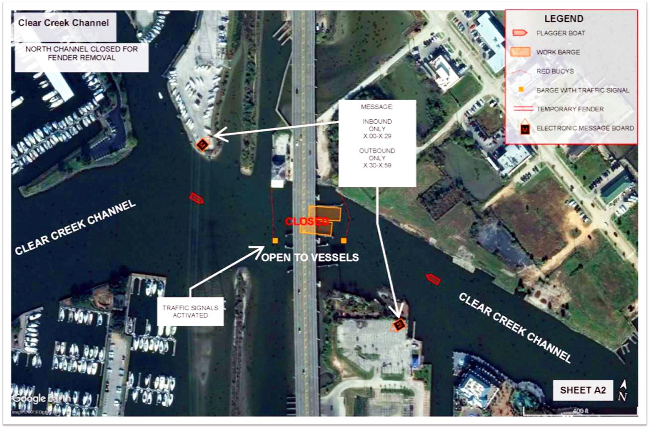 TxDOT Map of Channel Closure Identifying Navigation Assistance