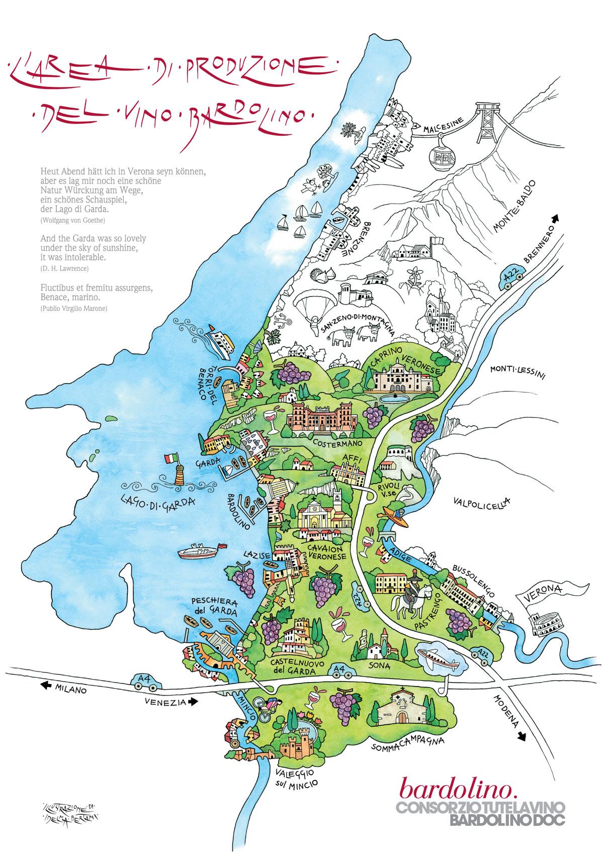 La mappa dell'area di produzione del vino Bardolino