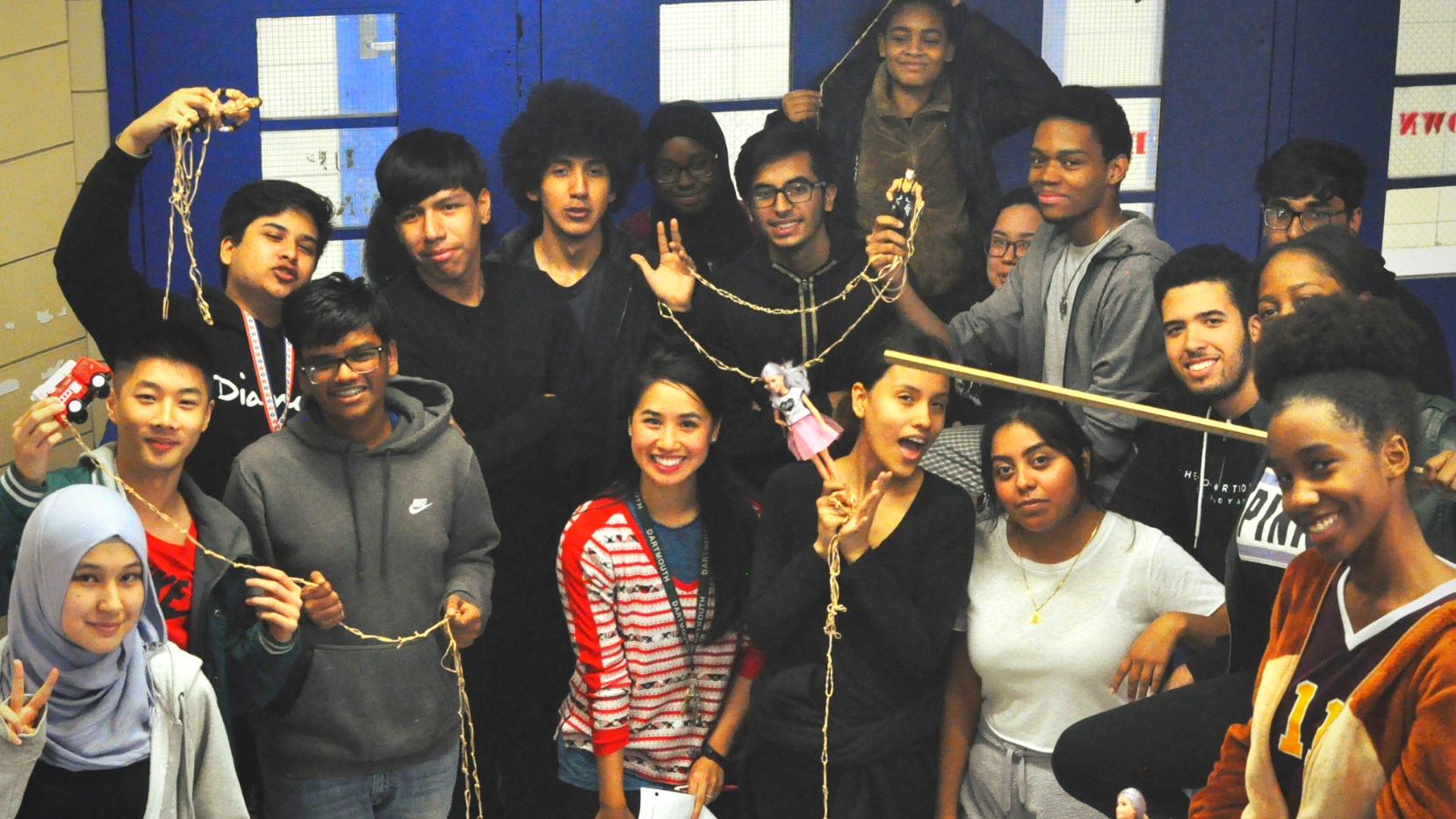 """MHA offers 4 Advanced Placement classes as well as CollegeNow courses with Baruch College. Pictured here is our AP Statistics class after their """"Barbie Bungee"""" activity, where they discussed concepts such as scatterp (1).png"""