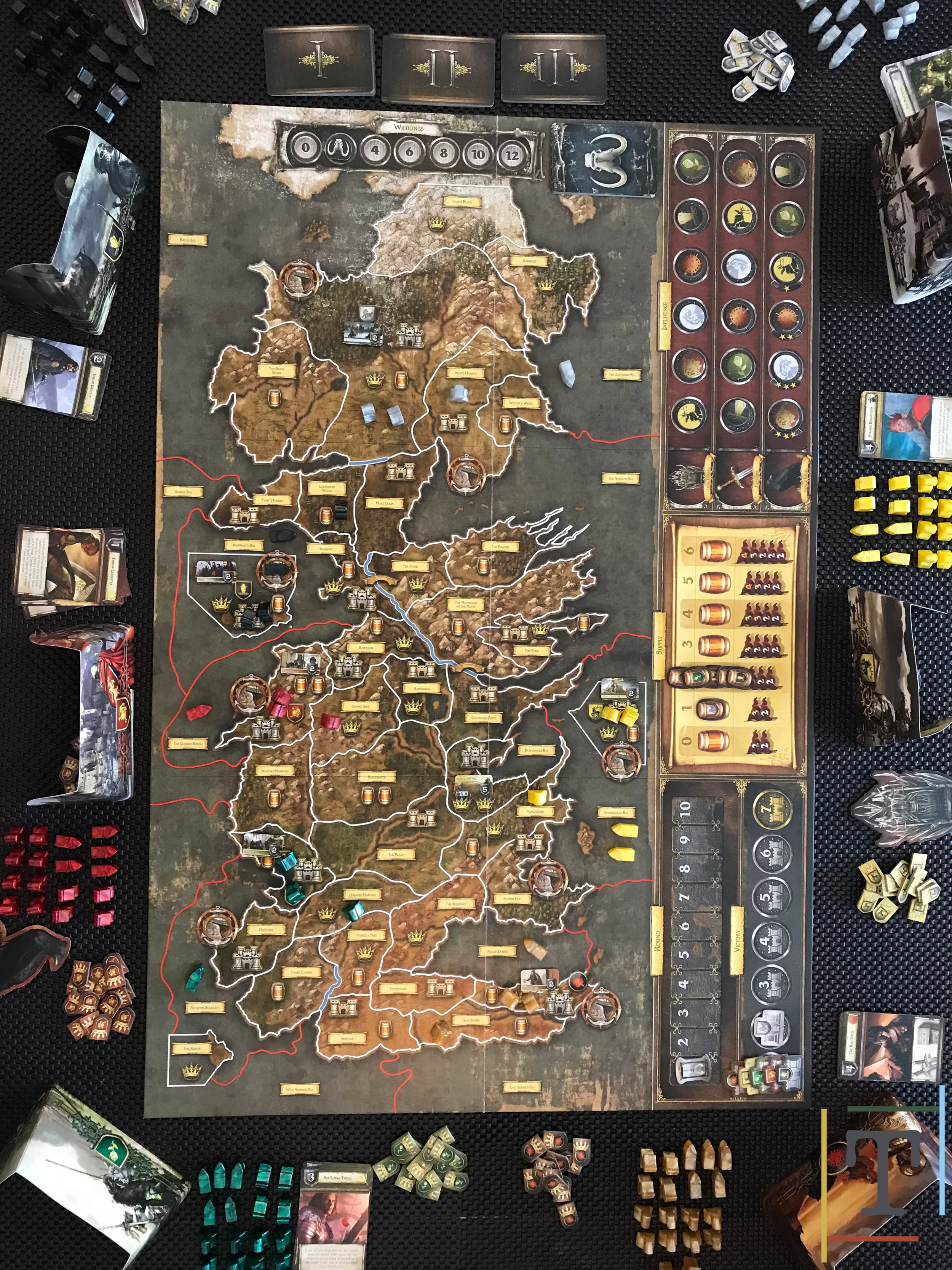 The set-up for a 6 player game