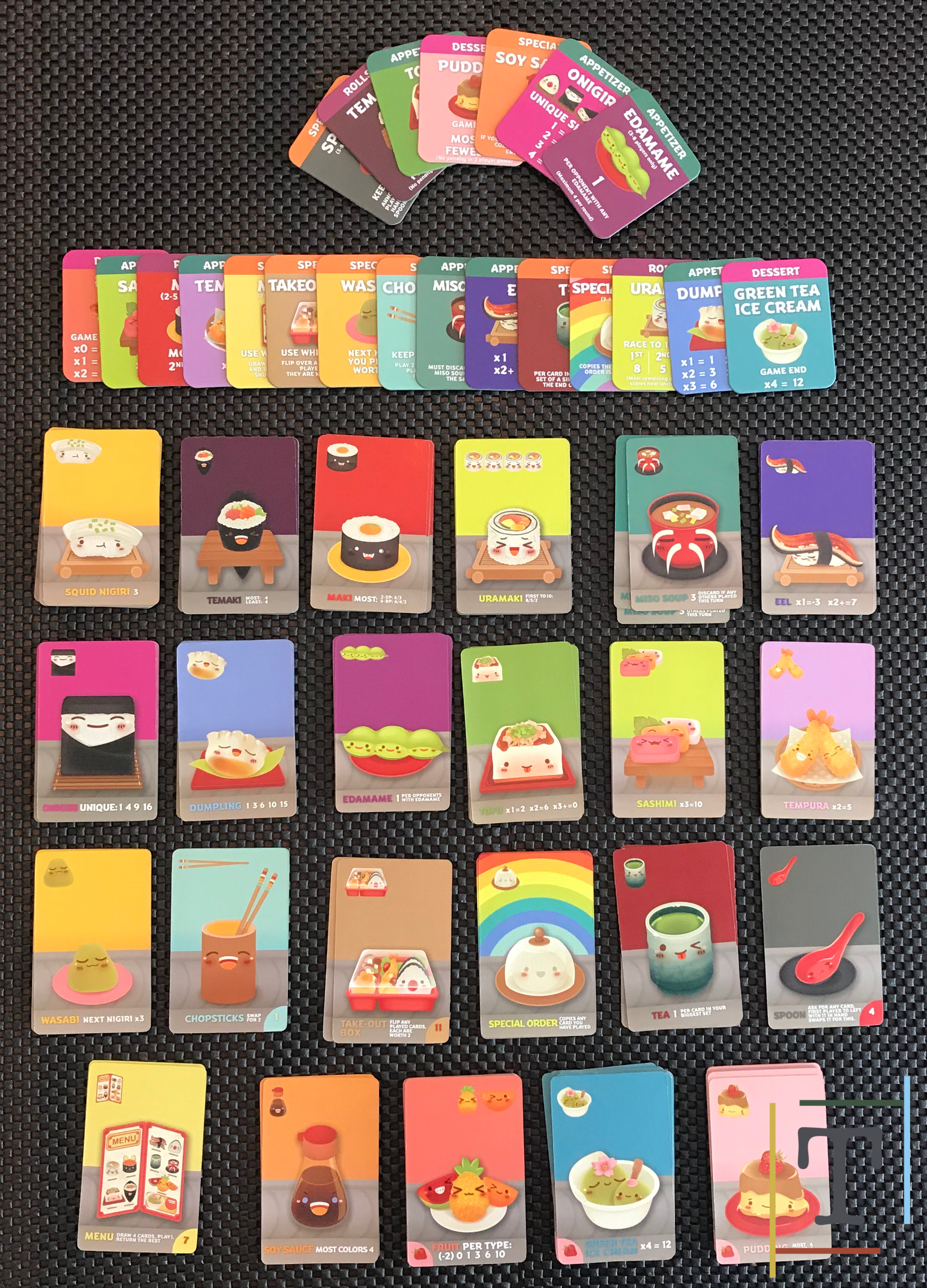All the card types that come with Sushi Go Party!
