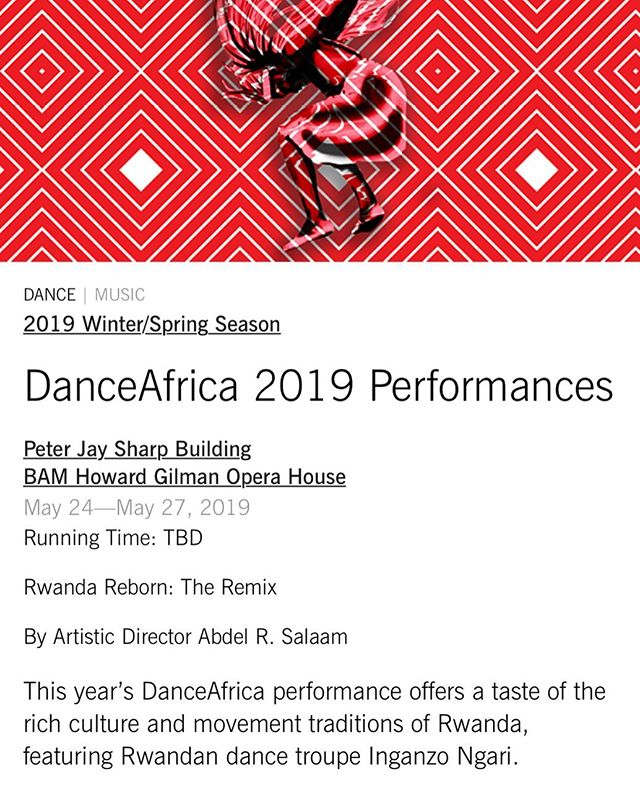 Our artists keep on making art! See our very own @uwa_mahoro perform at @bam_brooklyn this weekend, Thursday-Monday 🇷🇼 ✨#dance —see the link in her bio. Proud of you, Malaika!