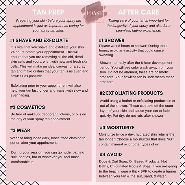 Prepping your skin before your tan is just as important as after! Check out these tan prep and aftercare tips to help maintain your #perfectglow! ✨ • • • #toasttanning #toasttanningspa #delraybeach #delraytanning #bocaspraytan #tanprep #tanaftercare #posttan #pretan #instaglow #bronze #sunlesstan #airspraytanning #mobilespraytan #spraytansalon #tanningtips #maintainyourtan #bronzeandboujee #westpalmbeach #organicspraytan #organicskincareproducts