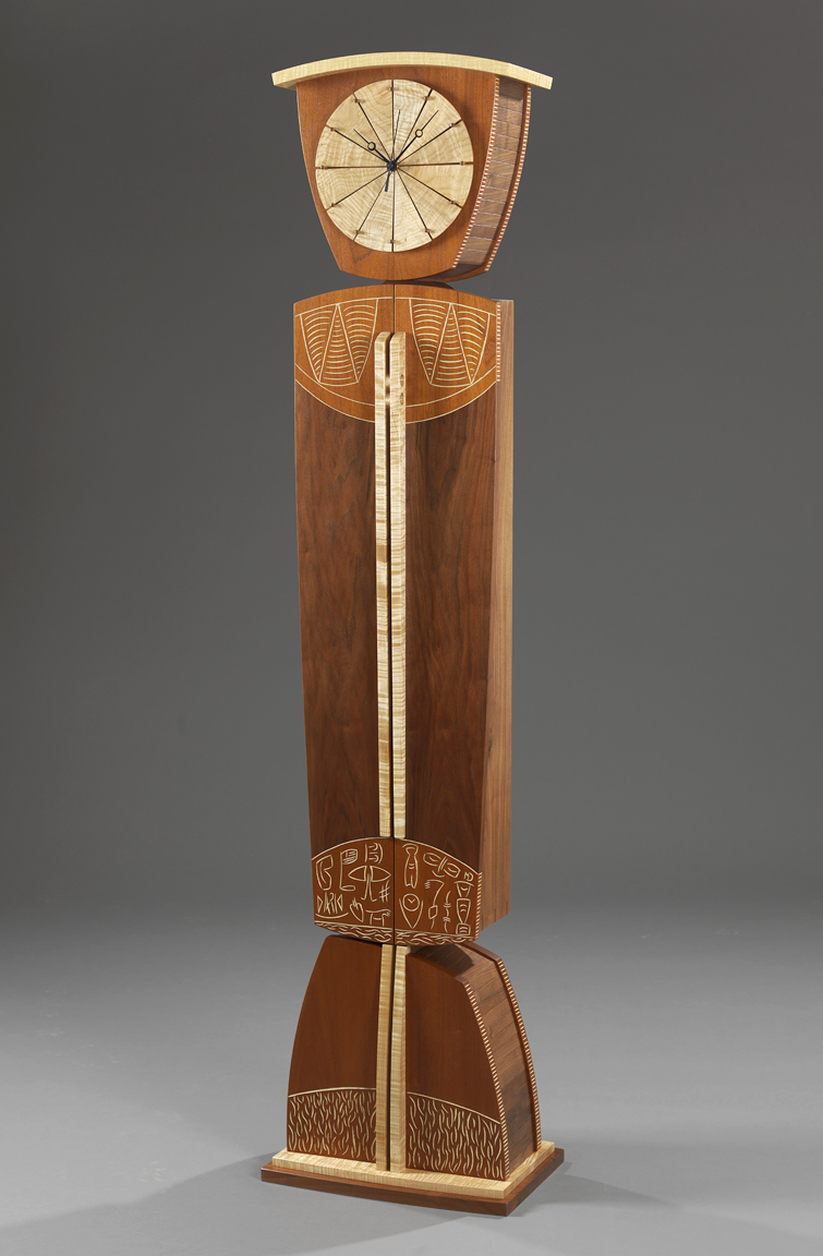"Time and Again - Genuine Mahogany, American Black Walnut, Curly Maple, Milk paint, varnish72""H x 18""W x 12""D"