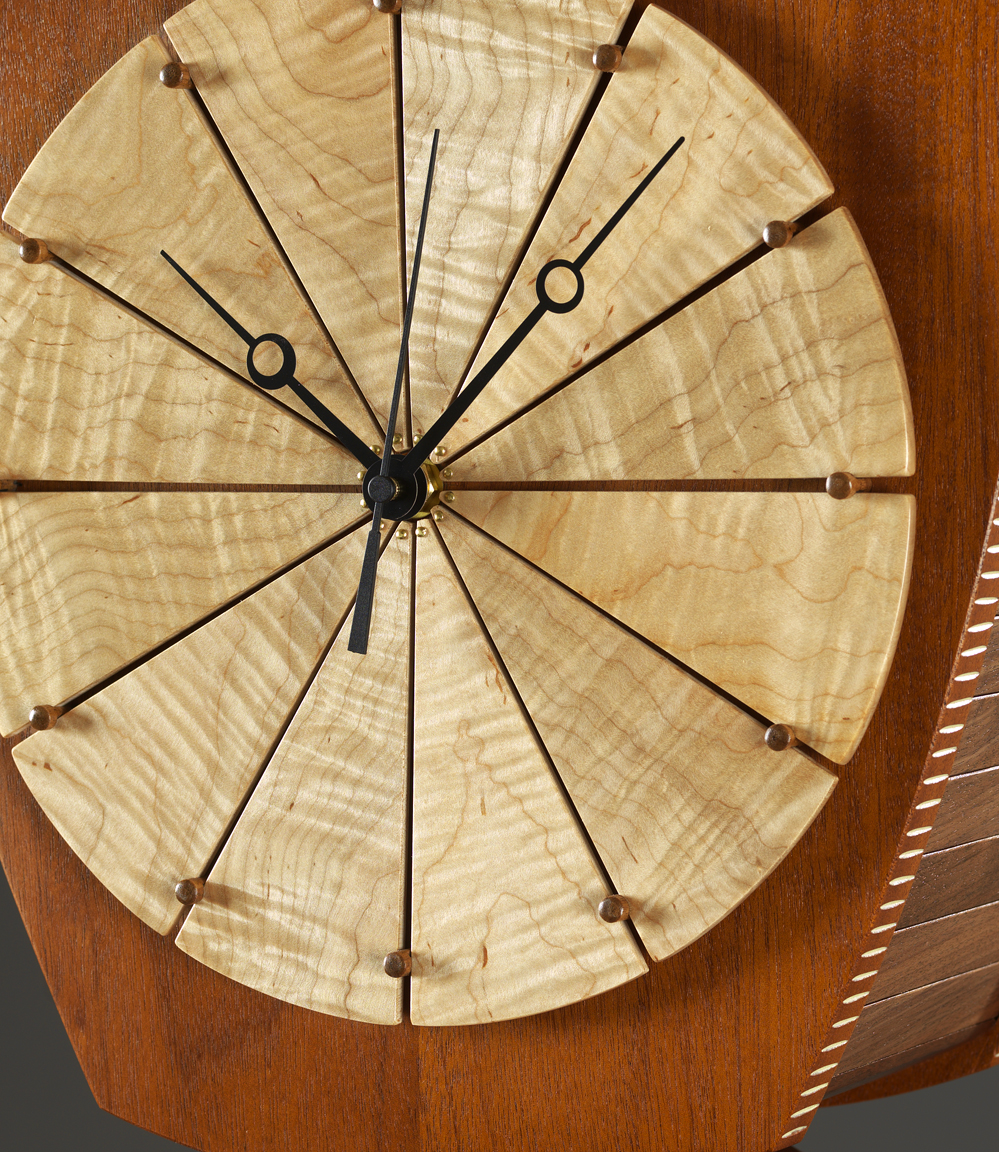 """Time and Again - detail - Genuine Mahogany, American Black Walnut, Curly Maple, Milk paint, varnish72""""H x 18""""W x 12""""D"""