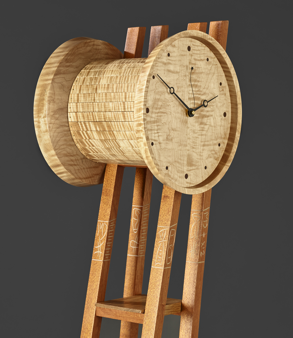 """Times Two - detail - Curly Maple, White Oak, Genuine Mahogany,Milk paint, Varnish75""""H x 14""""W x 11""""D"""