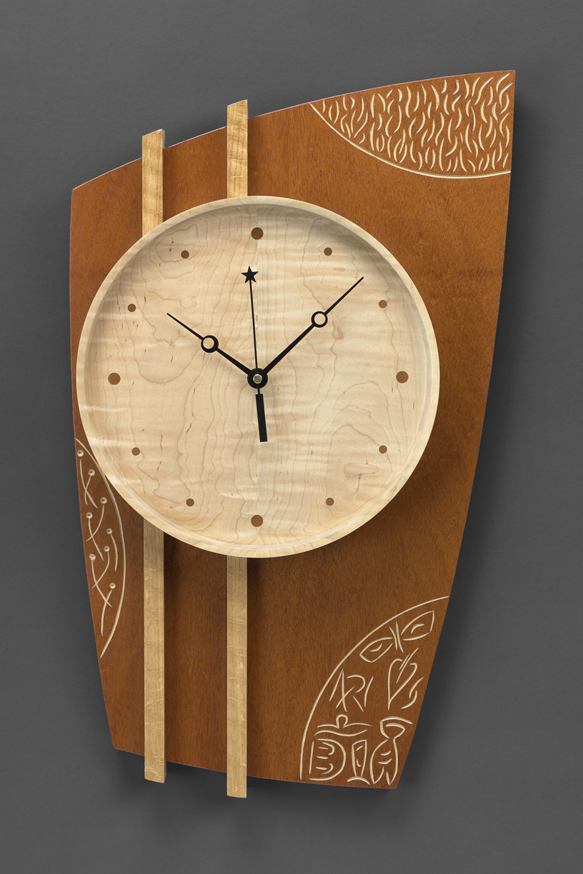"""This Time Around - Genuine Mahogany, Curly Maple, White Oak, Milk paint24""""H x 14""""W x 2.5""""D"""