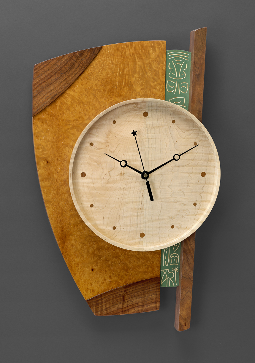 """Next Time Around - Curly Maple, Walnut, Madrone Burl, Carved & Milk painted Basswood23""""H x 14""""W x 2.5""""D"""