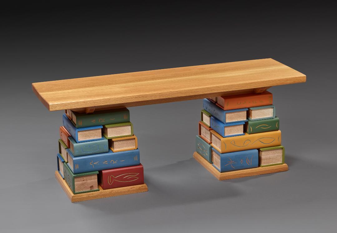 "Book Bench II - White Oak, Soft Maple, Basswood, Milk paint 18""H x 45""W x 15""D"