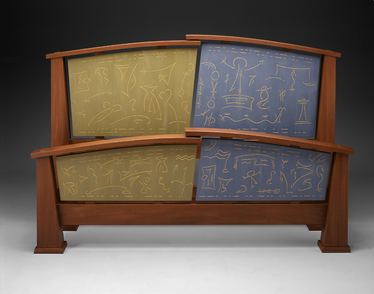 """Lit Del Guidice - Genuine Mahogany, carved and Milk painted Basswood     45""""H x 65""""W x 85""""DMorse Code reads > """"Sweet Dreams"""", """"Dreams Reveal our Spirit"""", and """"Dreams Can Come True"""""""