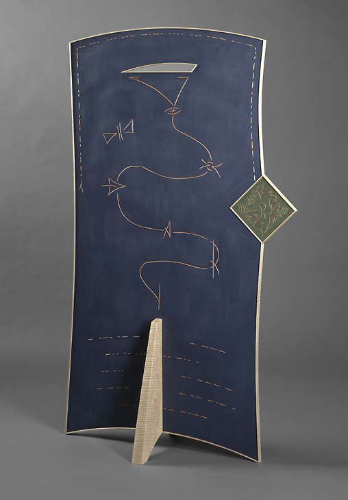 """Parting is Such Sweet Sorrow - Curly Maple, Medium Density Fiberboard, Milk paint 73""""H x 41""""W x 18""""DMorse Code reads > """"Parting is Such Sweet Sorrow"""", W. Shakespeare, Romeo and Juliet"""