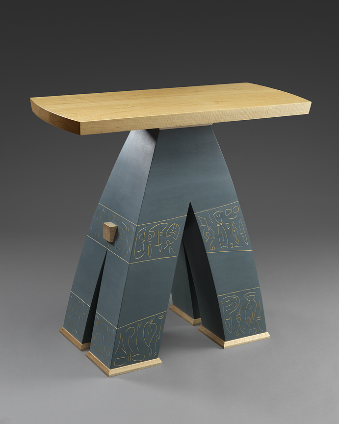 """A-nother Table - Curly Maple, Carved and Milk painted Basswood  36""""H x 41""""W x 17""""DCommissioned piece."""