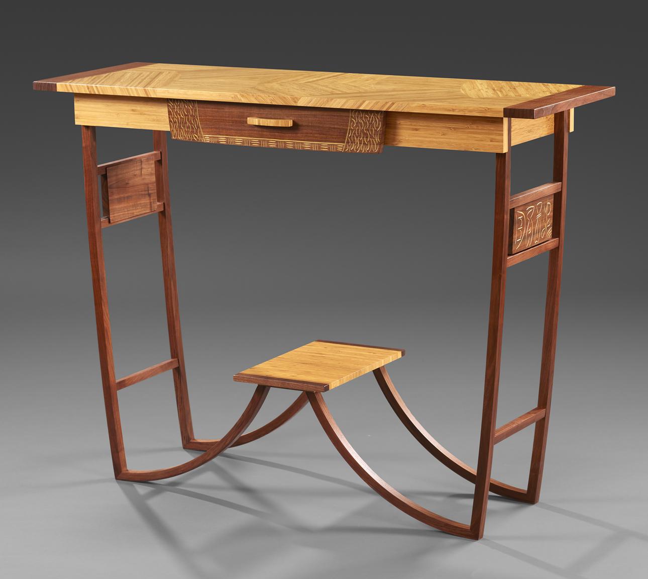 "Entryway Table - Narrow band natural Bamboo, American Black Walnut Milk paint, Varnish     36""H x 48""W x 16""D"