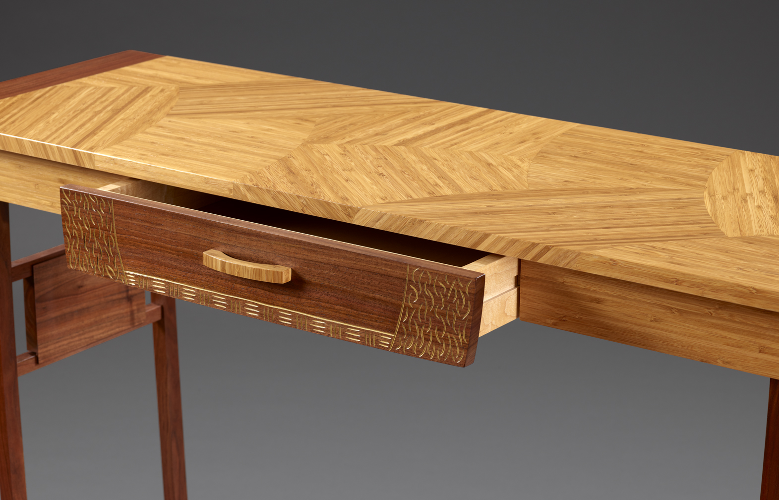 Entryway Table  - detail of top pattern and drawer