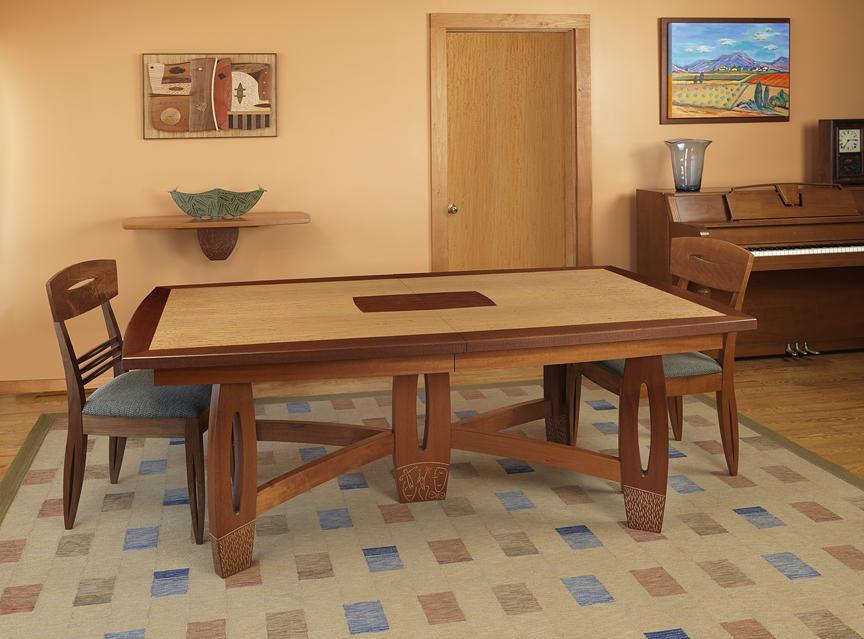 "Dinning Room Table - Block Mottled Anigre, Genuine Mahogany, Milk paint   29.75""H x 40""W x 76""L + 2 leaves @ 21.5""L"