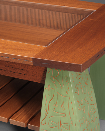 Lyman Coffee Table - detail of top and carved drawer interior