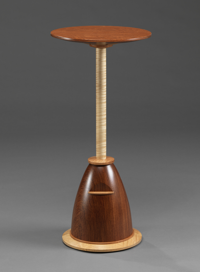 "Round About - Figured Bubinga, Curly Maple, Swiss Pearwood   30.5""H x 14.75""Diameter"