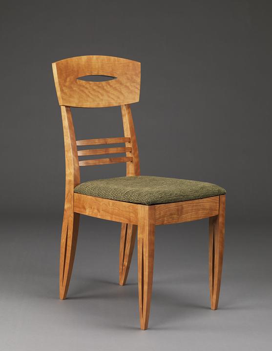 "Sanfra Chair - Cherry, Milk paint, Upholstry37.5""H x 17""W x 20""D"