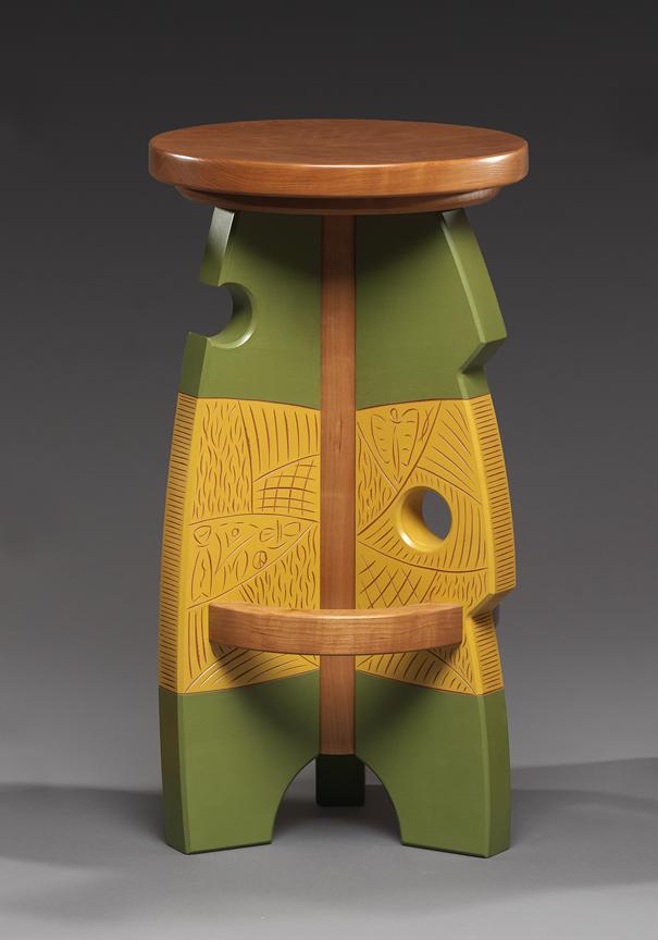 "#5 Stool [Swiss Cheese] - Cherry, Carved & Milk painted Maple26""H x 14""Diameter"