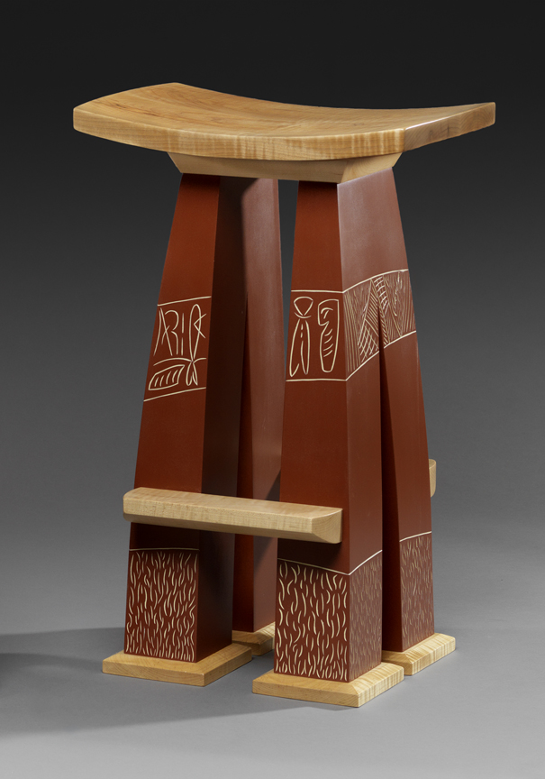 """#17 Stool - Curly Maple, Carved & Milk painted Maple26""""H x 17""""W x 12""""D"""