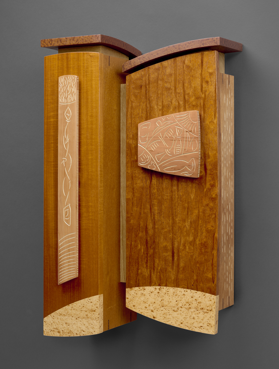 """Either Way - Genuine Mahogany, Peppered Pecan, Swiss Pearwood, Pomelle Sapele, White Oak, Milk paint 25""""H x 16""""W x 7""""D"""