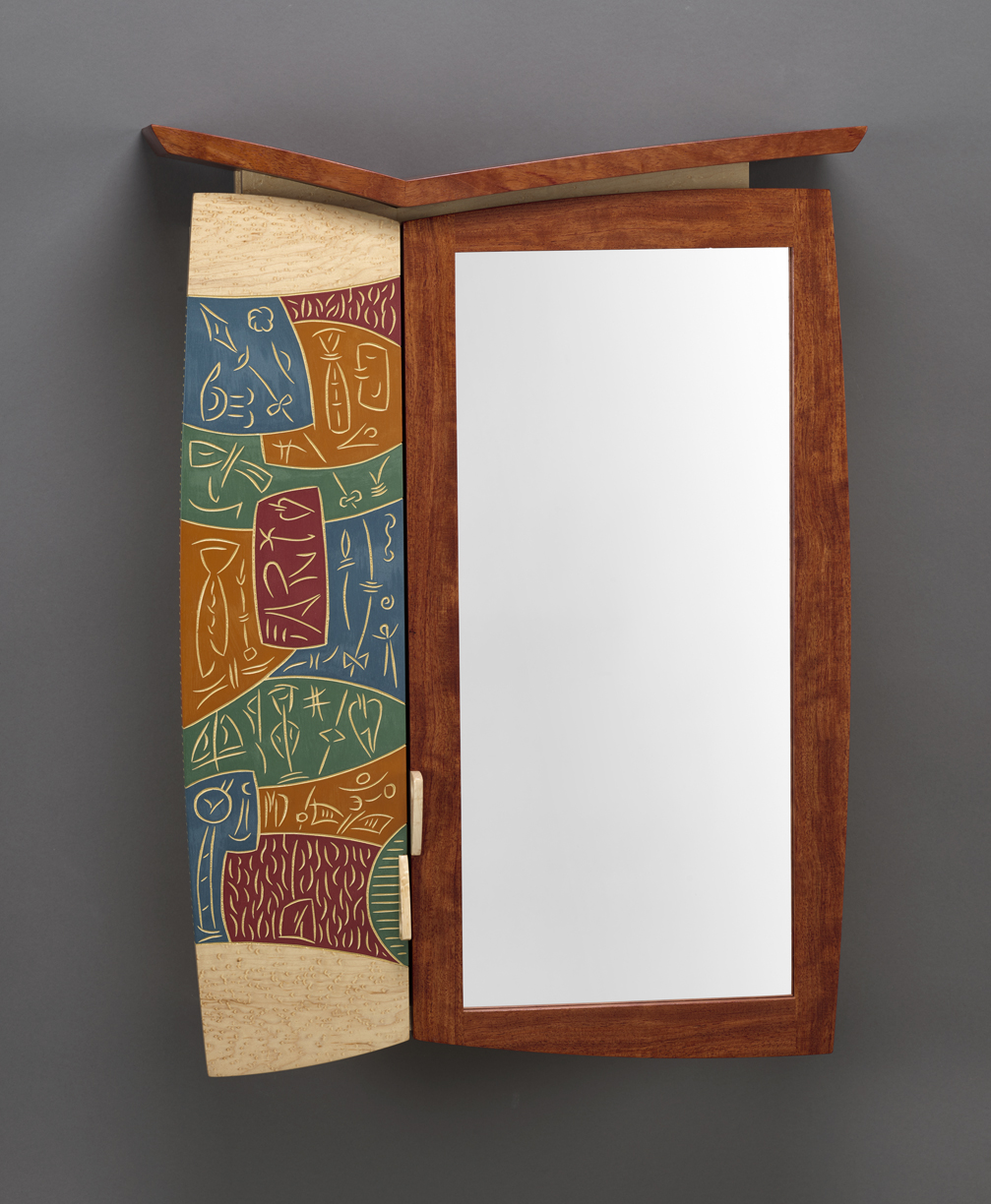 """Medicine Cabinet #5 - Bubinga, Birds Eye Maple, Carved and Milk painted Basswood 28""""H x 19""""W x 6""""DCommissioned Piece"""