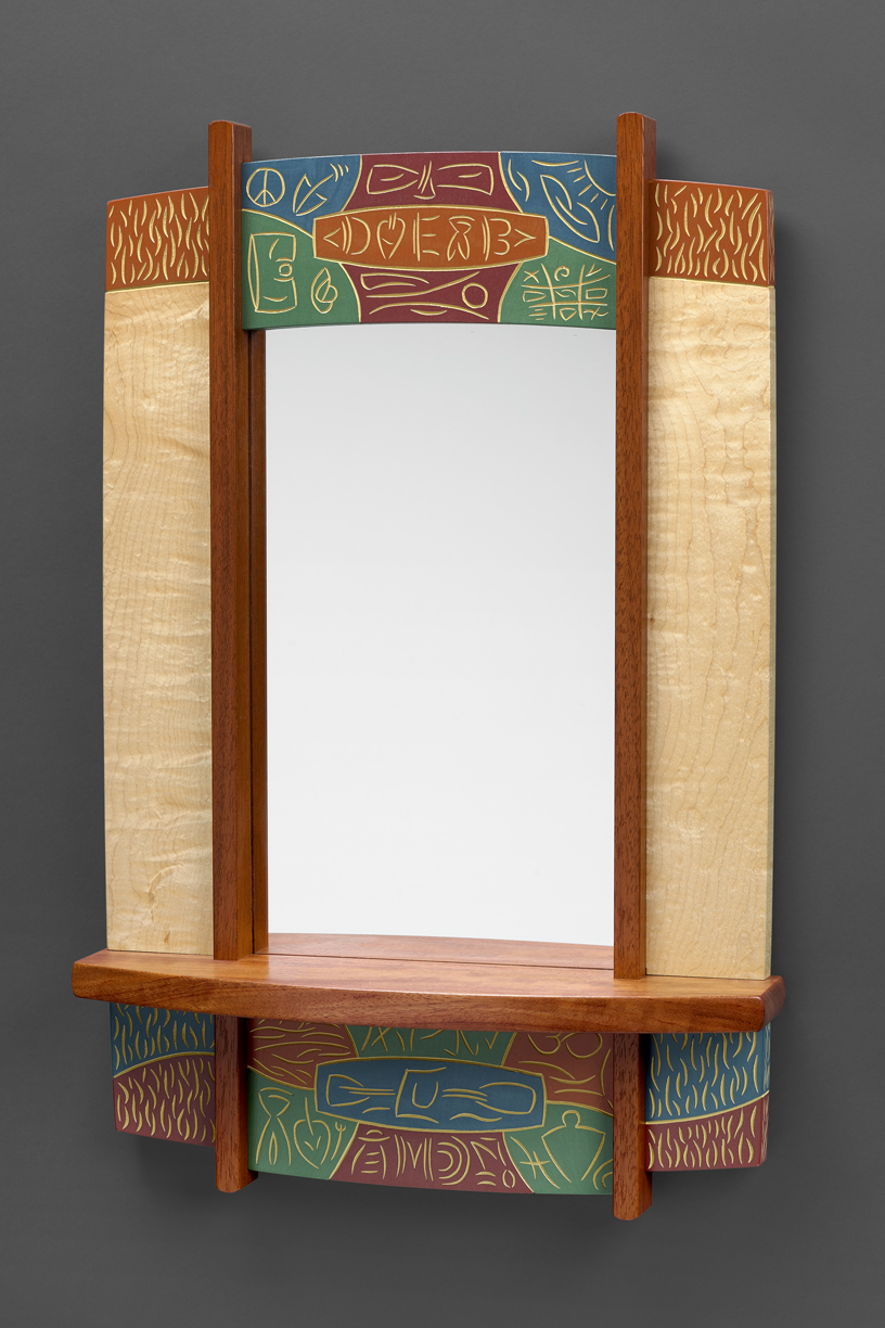 """Entryway Mirror - Bubinga, Curly Maple, carved & Milk painted Basswood 26""""H x 17""""W x 4""""D"""