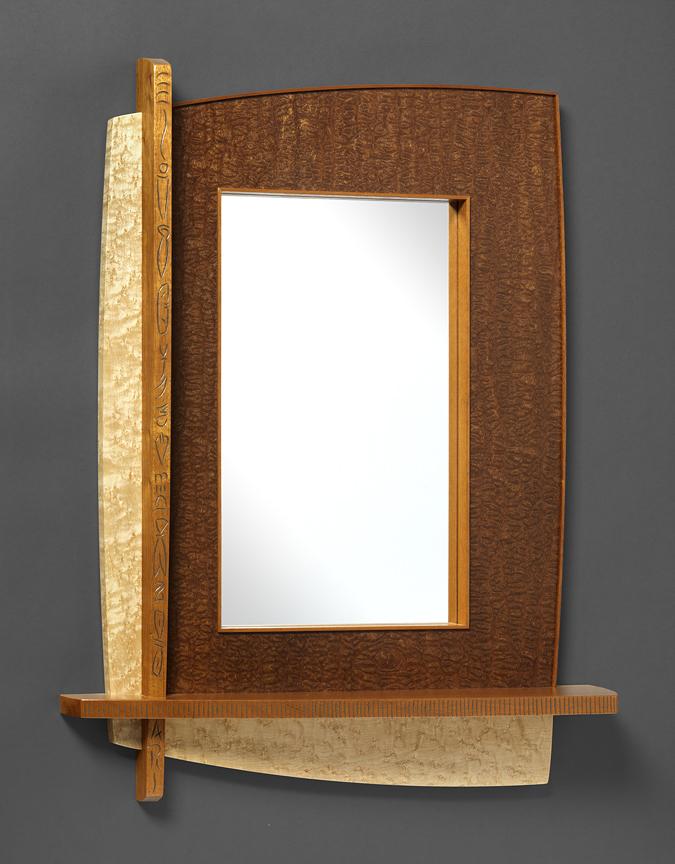 """Mirror with shelf - Pomelle Sapele, Birds Eye Maple, Genuine Mahogany, Milk paint 27""""H x 21""""W x 5""""D"""