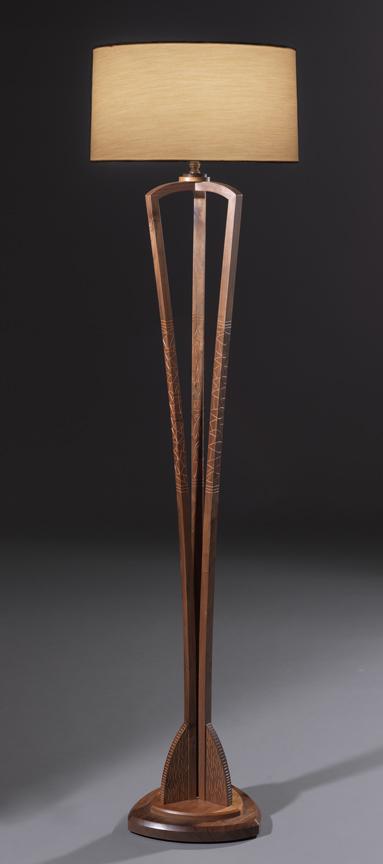 """Triangular Floor Lamp - American Black Walnut, Cherry, Milk paint67""""H x 21""""Diameter Shade"""
