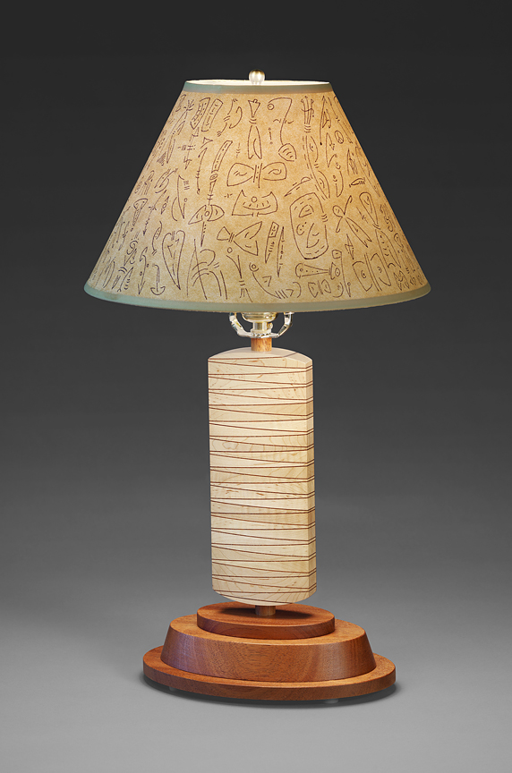 "Wedge Lamp - Curly Maple wedges, Genuine Mahogany, Parchment Paper shade 21""H x 12""Diameter"