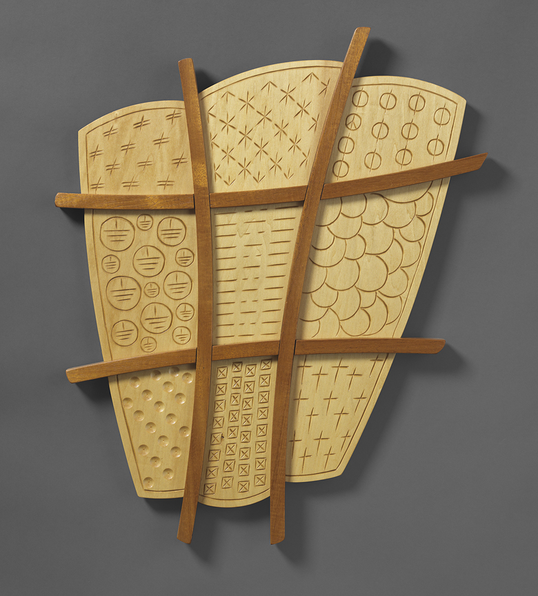 "Noughts & Crosses - Genuine Mahogany, Basswood24""H x 20""W x 2""D"