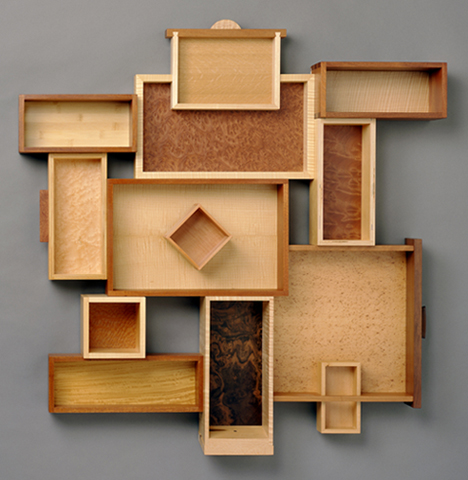 """Recipe for Leftovers - For each project that had drawers I would always make an extra just in case.Various woods. 48""""H x 48""""W x 6""""D"""