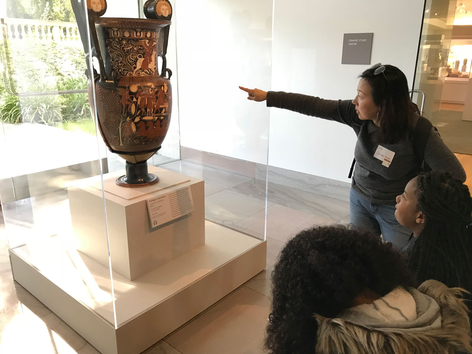 Ms. Chien brings history to life with the help of an ancient artifact at the Legion of Honor