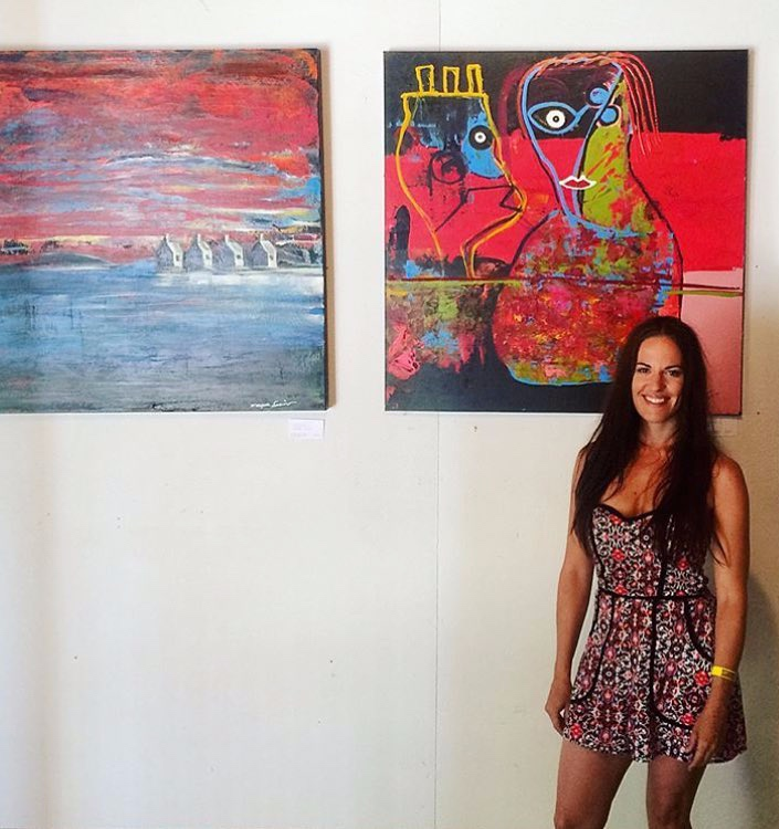 Paintings in image above by Maryrose Savino, 2018 Art Barn Exhibit, the Finger Lakes GrassRoots Festival. Check out her work:    website  .